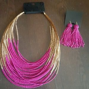 Jewelry - Necklace and earing set Pink and Gold beads